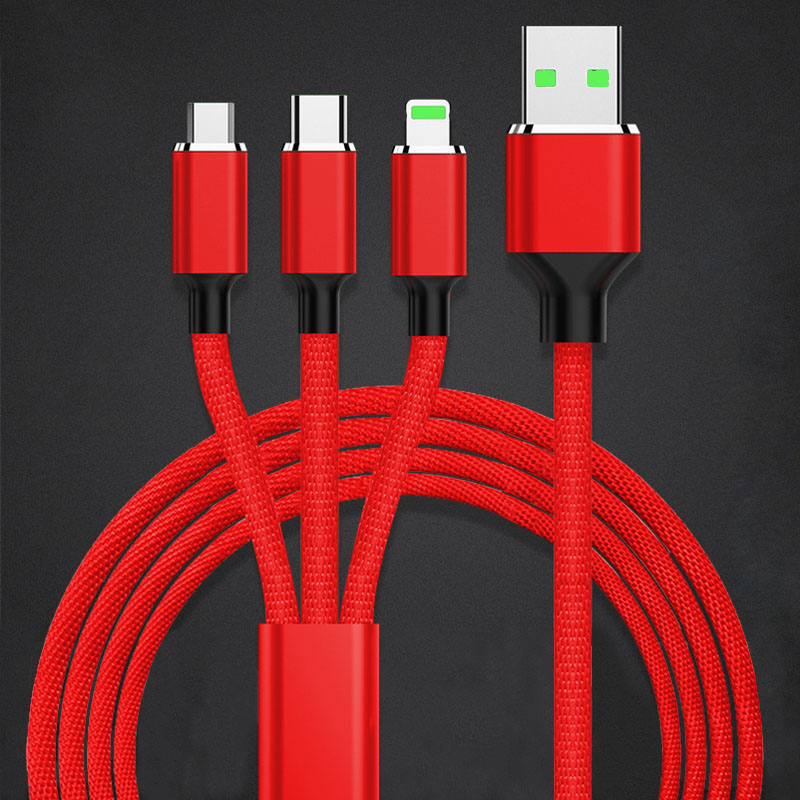 1.2m Weave Micro Usb Extension Cables Three Connectors Line Multi Function for Apple Android Type-C 3 in 1 Charge Data Cable 3 in 1 lightning type c micro usb magnetic head data charger cable