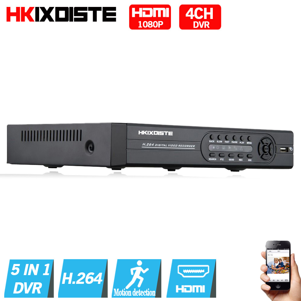 5 IN 1   4CH  AHD DVR NVR HVR CCTV 4Ch  1080N  Hybrid Security DVR Recorder Camera Onvif RS485 Coxial Control P2P Cloud ahd dvr 4 channel cctv recorder 4ch hd camera dvr security hybrid hvr nvr for 720p ahd