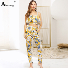 цена на Sexy Yellow Flower print Ruffle zipper Detail Cami Crop Top and Pencil pants 2 Piece Set Women Summer Club Party Two Piece Set