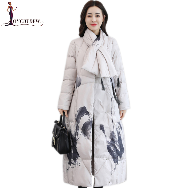 Winter Jacket Women   Down     Coat   2018 Fashion New Printing Parka Long Round neck High-end Covered Button Warm Female Outerwear l827