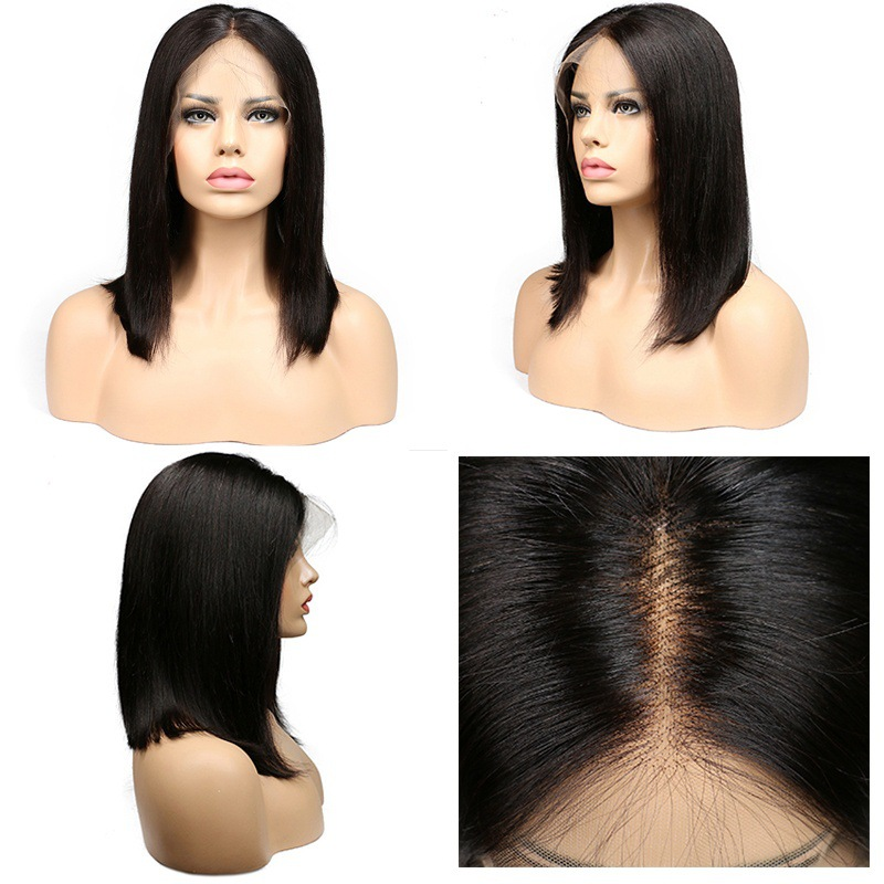 Short Hair Lace Front Human Hair Wigs For Women Remy Hair Mid-point Long Straight Wig With Baby Natural Hairline Black Color stylish straight neat bang human hair bob women s wig