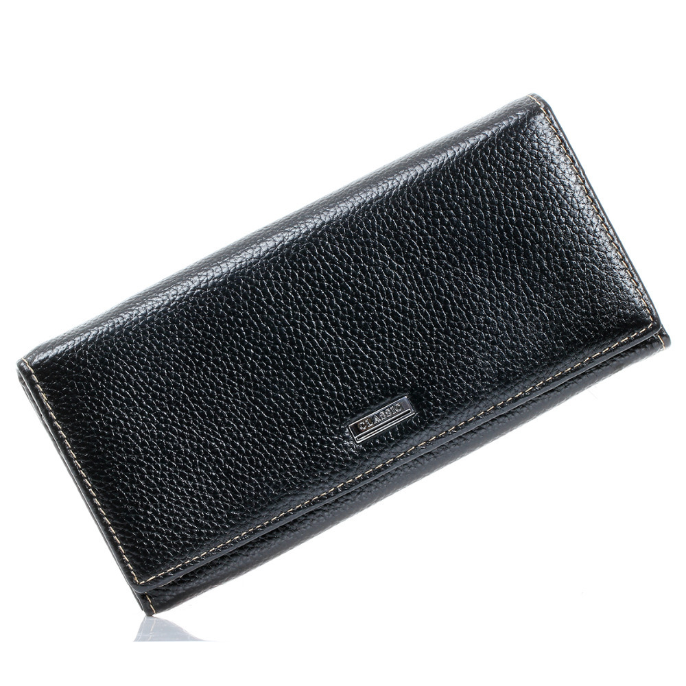 Large Long Wallet Mens Black Real Genuine Leather Wallets and Purses Clutch ID Credit Card Slots Checkbook Pocket Women