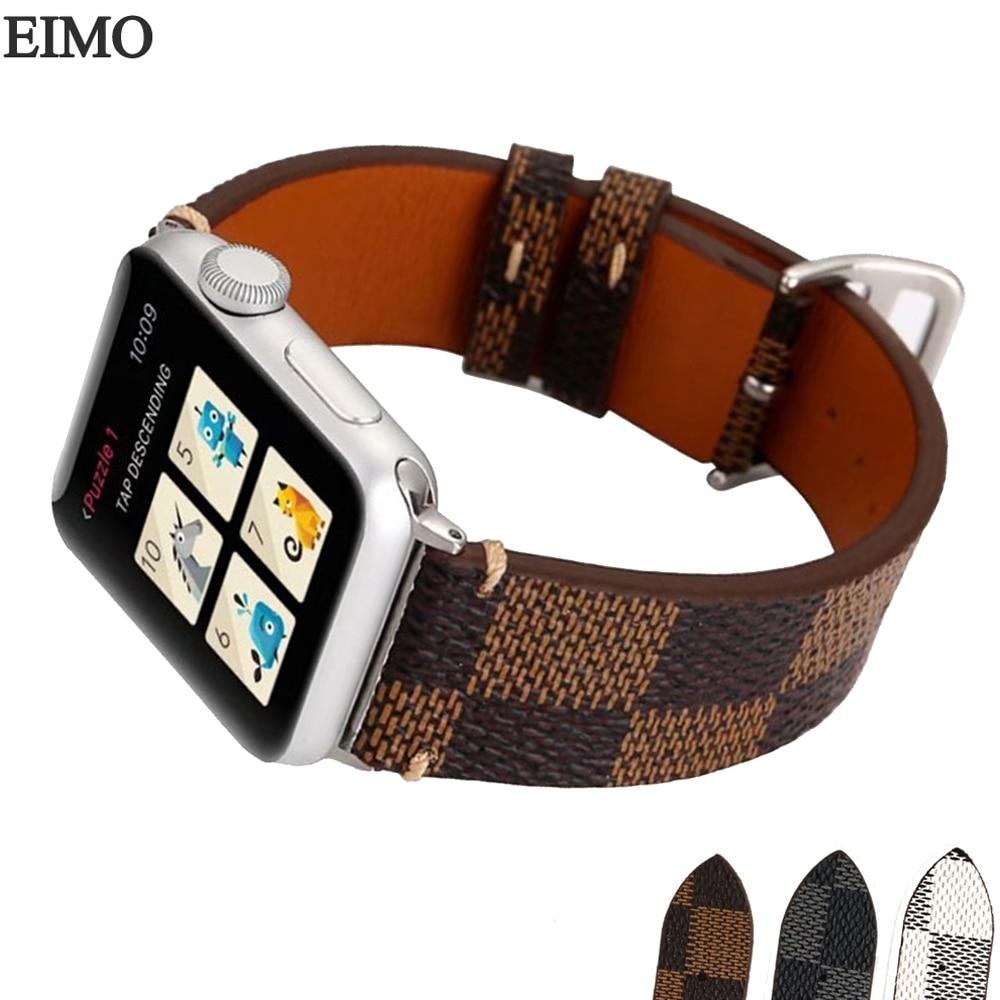 EIMO Sport Genuine Leather Strap for Apple Watch Band 42mm 38mm iwatch 3/2/1 Bracelet Watchband Wrist Belt Watchband Accessories