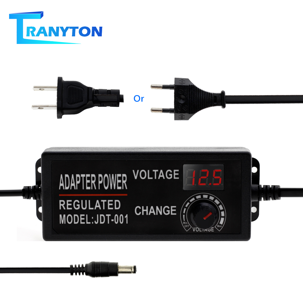 Adjustable AC To DC 3V-12V 9V-24V Universal Adapter With Display Screen Voltage Regulated LED Lighting Transformers Power Supply image