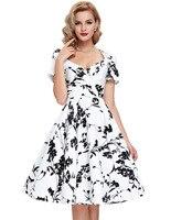New 60s dresses Summer Women Casual Retro Robe 50 Vintage Dress plus Size oversize Vestidos short sleeve flower print