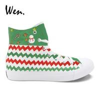 Wen Men Vulcanize Shoes Christmas Theme Hand Painted Canvas Sneakers Espadrilles Flat Lacing footwear Women Plimsolls Zapatos