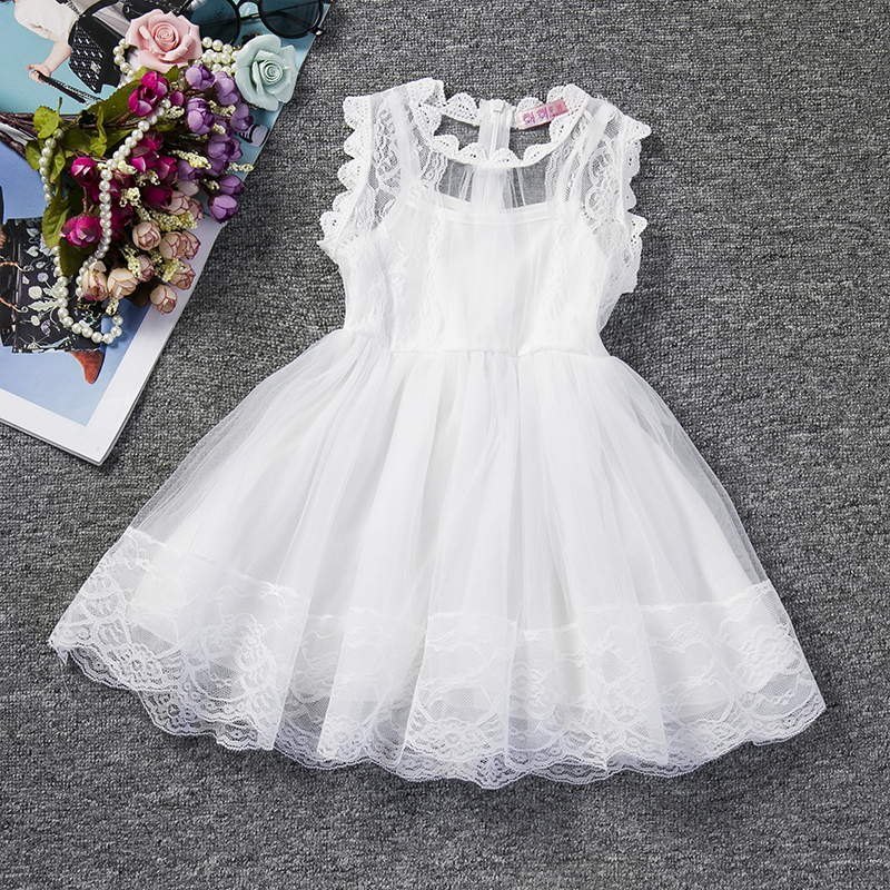 Casual Girls Dress Summer Baby Princess School Dresses Cute Lace Kids Clothes Children Clothing Toddle Girl White Baptism Dress