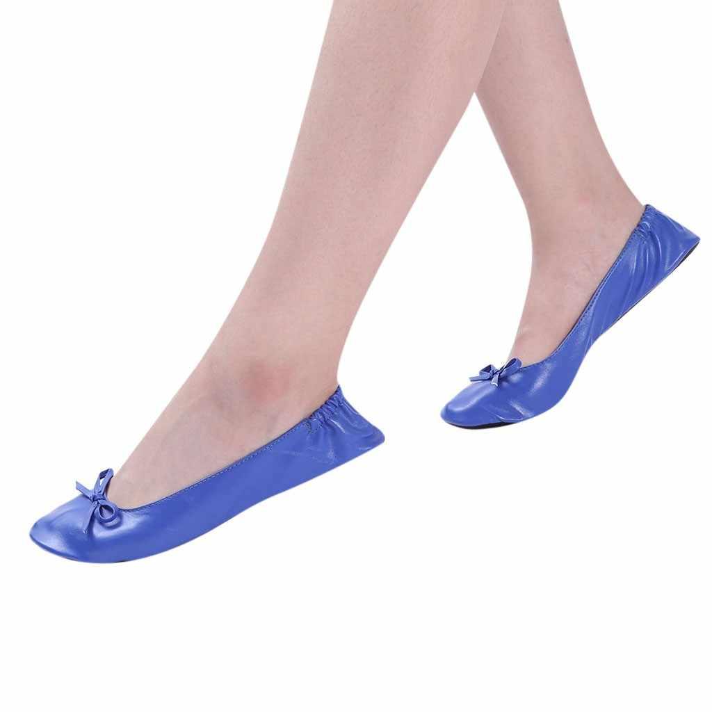 Kadın katlanabilir taşınabilir seyahat bale düz rulo terlik ayakkabı dans parti ayakkabıları platformu kadın düz bale düz bağcıksız ayakkabı