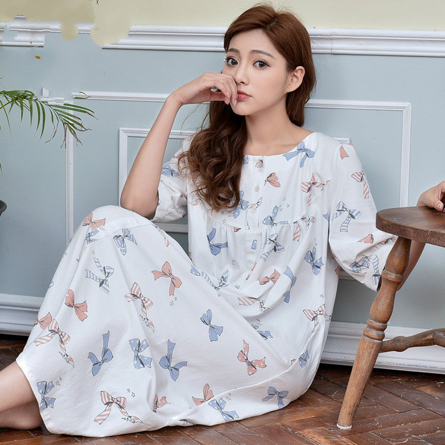 b2b8f044f Princesa Camisón Floral Embarazada Mujeres Media Manga Modal Flor de Largo  Mujeres Sleepshirts Camisones Pijamas De