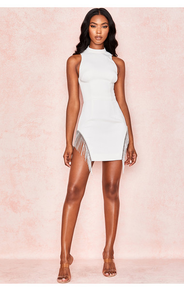 New White Celebrity Evening Party <font><b>Dress</b></font> Vestidos Verano <font><b>2019</b></font> <font><b>Sexy</b></font> Tank Sleeveless Tassel Bodycon <font><b>Runway</b></font> Fringe <font><b>Club</b></font> <font><b>Dress</b></font> image