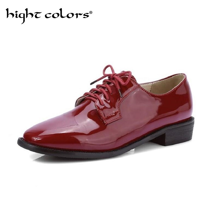 New Black Red Square Toe Fashion Lace Up Patent Leather Women Flat Shoes Ladies Casual Shoes Big Size 34-43 Women Oxfords new round toe slip on women loafers fashion bow patent leather women flat shoes ladies casual flats big size 34 43 women oxfords