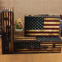 Explosion models vintage leather suitcase C wooden storage box home photography props wholesale window display