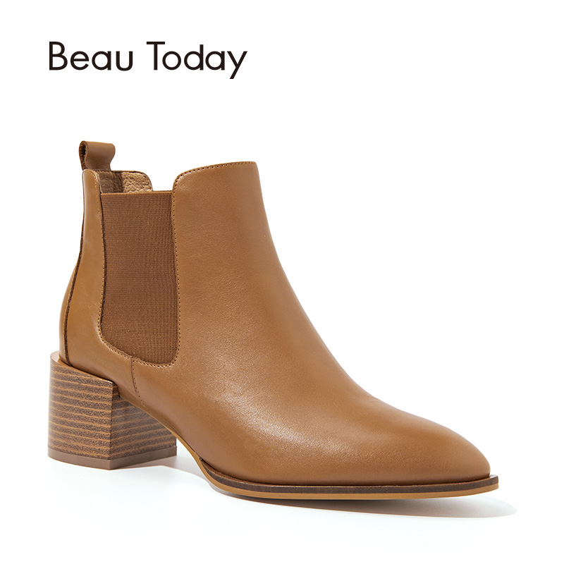 BeauToday Chelsea Boots Women Top Quality Brand Boot Genuine Calf Leather High Heel Pointed Toe Elastic Ankle Length Shoes 03313 beautoday women chelase boots genuine calf leather top quality spring autumn ankle length ladies boots handmade 03239