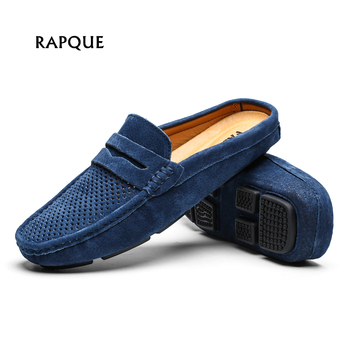 Men Shoes mens loafers half genuine leather holes swede hand made driving walking shoes casual flats clogs Leisure big size 46 leather