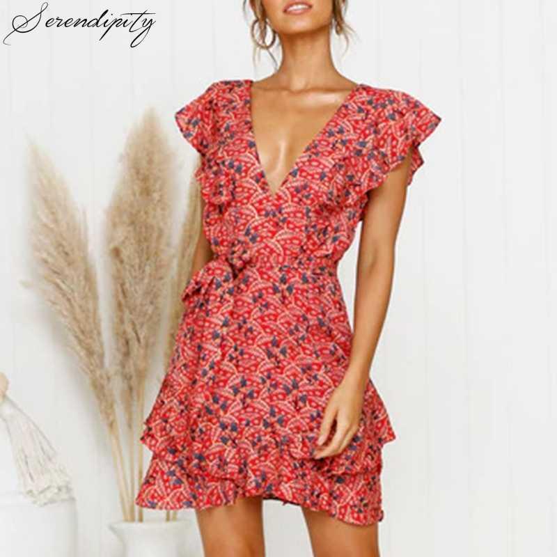Manga curta floral impressão vestido de praia profundo v neck plissado mini vestido sexy verão feriado doce vermelho boêmio sash vestido 2020