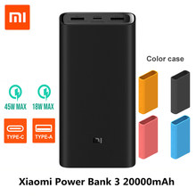 2019 جديد شياو mi قوة البنك 3 20000mAh mi تجدد Powerbank USB-C 45W المحمولة شاحن المزدوج USB تجدد Powerbank ل محمول هاتف ذكي(China)