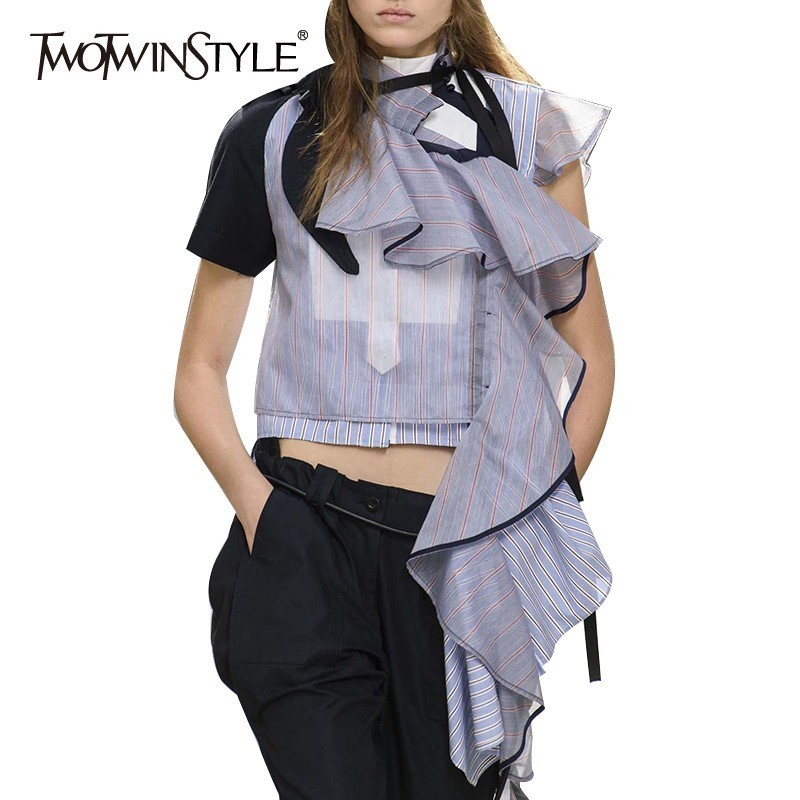 TWOTWINSTYLE Summer Striped Women Blouse Stand Collar Short Irregular Ruffles Hit Color Patchwork Shirt Female Fashion 2020 New