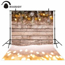 Allenjoy photography background winter wood board snow Christmas glitter balls backdrop photo studio photocall photophone prop