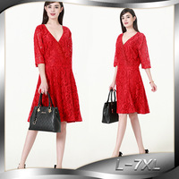5XL 6XL 4XL High Quality 2017 Summer New V Neck Lace Red Dress Elegant Women Plus
