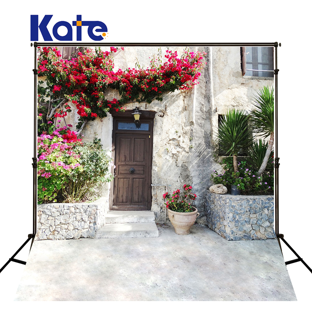 KATE Photography Backdrops City Photo Backdrop Wood Door  Backdrop Photo Flowers Background For Wedding Photocall