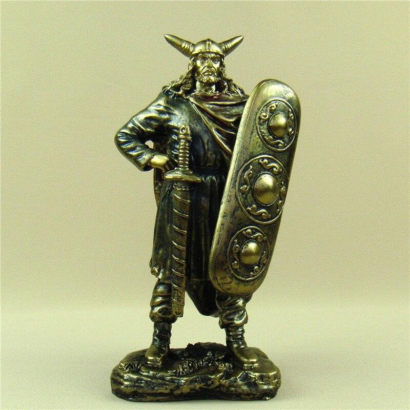 Imitazione antico Vichingo Generale Statua In Resina Fatti A Mano Scudo Guerriero Scultura di Decorazione di Ornamento Artigianato Souvenir Regalo