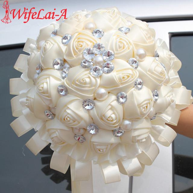 WifeLai-A 1Piece Handmade Sapphire Ivory Ribbon Bouquet Decorative Silk Rose Flowers Bride Bridal Crystal Wedding Bouquets W270