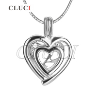 CLUCI Romantic Double Love Heart Charms 925 Sterling Silver Locket Necklace Pendant Jewelry For Women