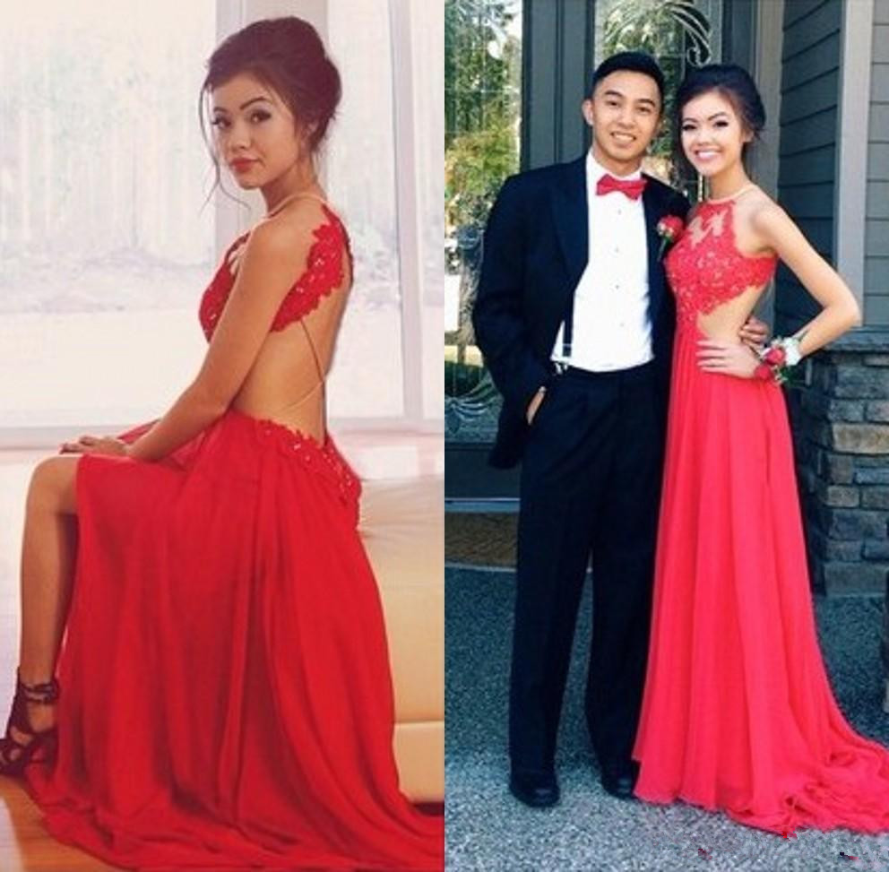 New Sexy Style Backless Red Evening gown halter Lace Chiffon Front Slit Floor Length Long   Prom   Party   Dress   Custom   prom     dresses