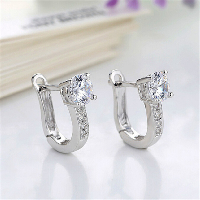 Hot Beautiful Silver Color Jewelry U Type Rhinestone Crystal Earrings For Women Party Wedding