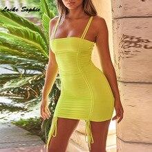 1pcs High waist Ladies Sexy Camisole dresses 2019 Autumn Fashion cotton blend Splicing Bandage Dress womens Skinny