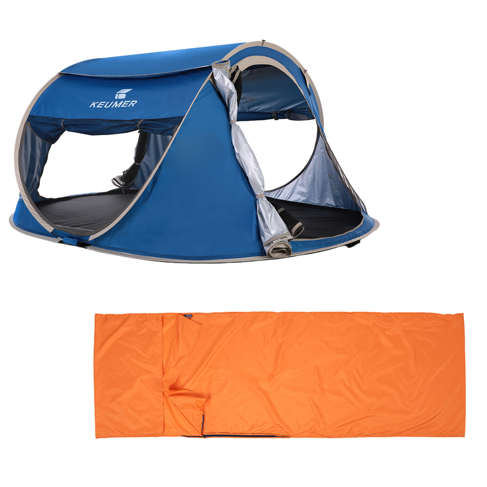 Energetic Outdoor Travel Camping Gear 70*210cm Polyester Sleeping Bag 240 *180*100cm Automatic Instant Pop Up Hiking Tent For 3-4 Persons Bright Luster Sports & Entertainment