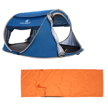 Outdoor Travel Camping Gear 70*210CM Polyester Sleeping Bag+ 240 *180*100cm Automatic Instant Pop Up Hiking Tent for 3-4 Persons
