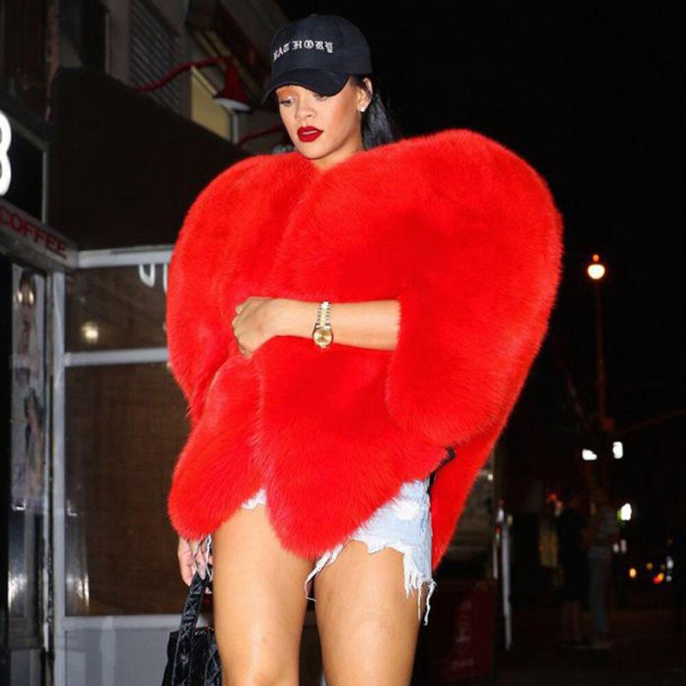 Стильные 3D красный любовь в форме сердца накидка из искусственного лисьего Мех животных толстые теплые знаменитости Для женщин длинные вол...