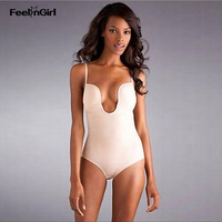 FeelinGirl Seamless Bodysuit Shapewear U Plunge Thong Body Suit Push Up Bra Full Body Shaper Firm
