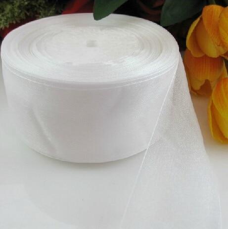 (10 ярдов/партия) 2 »(50 мм) белый органза ленты оптовая продажа подарочная упаковка украшения Рождество ленты D001