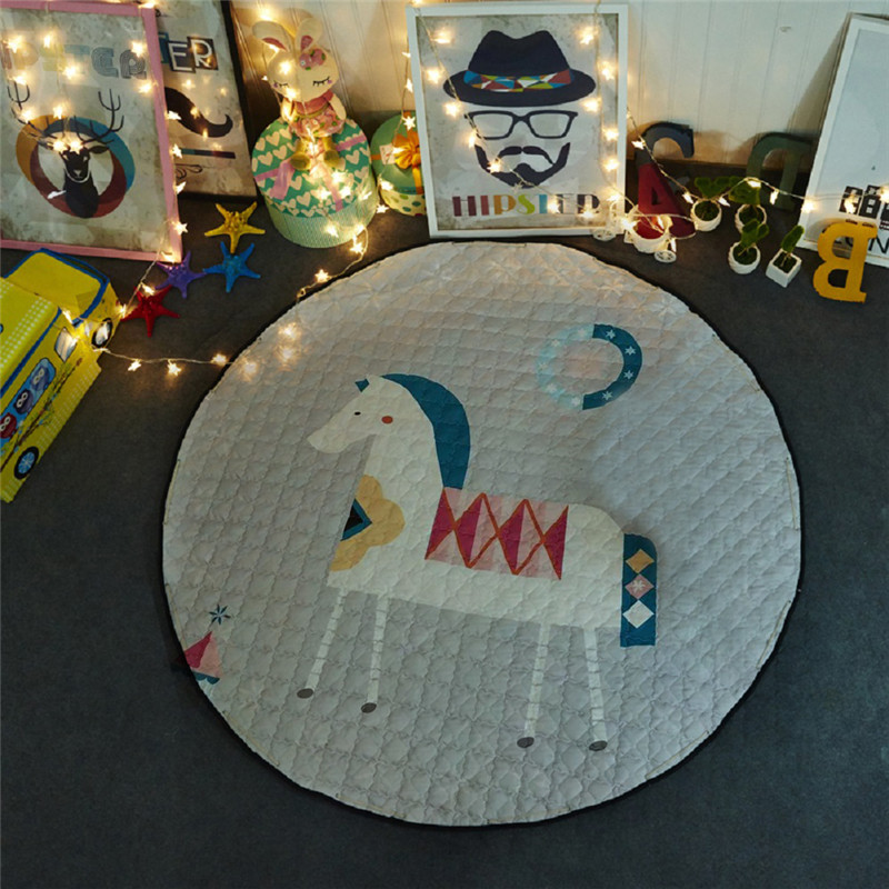 Round Kids Room Rug,Toys Storage Organizer Bag,Large Cotton Anti-slip Cartoon Children/'s Floor Play Mat with Drawstring for Kids Room