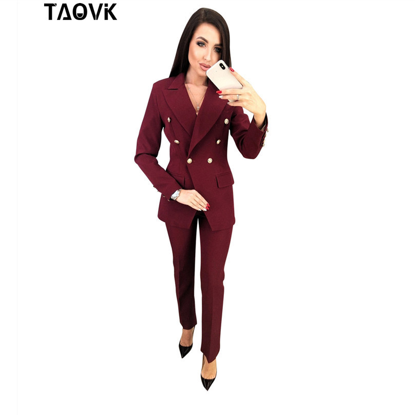 TAOVK OL Pant Suits Double-breasted Turn-down Collar Blazer Top+Pants 2 Piece Outfits For Women Feminine Clothes Pantsuit 2019