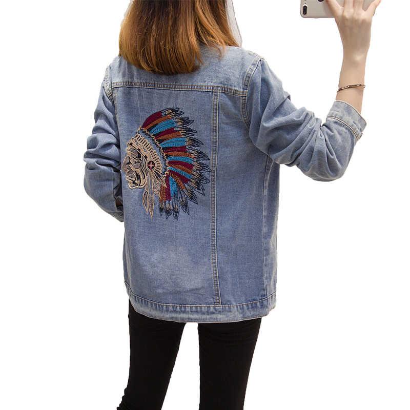 Hodisytian для женщин джинсовые куртки Slim Fit Вышитые мультфильм Jaqueta пальто повседневное верхняя одежда кардиганы для Moletons Feminina плюс размеры