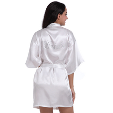 ca1708e8b6 White Rhinestone Satin Bridesmaid Bride Wedding Robe Gown Women Sexy Short  Kimono Geisha Nightgown Sleepwear Nightwear