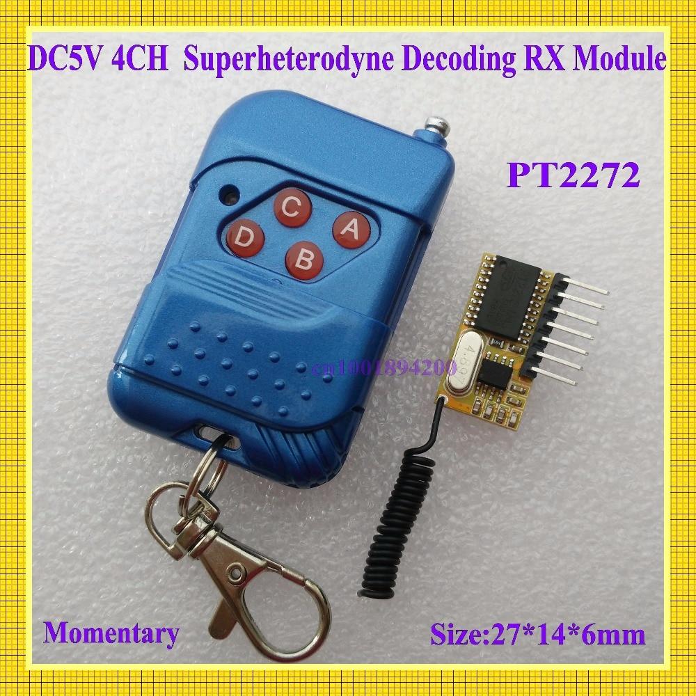 DC 5V 4CH Superheterodyne Decoding Receiver Module High Level Signal TTL PT2272 RF RX Module Fixed Code Momentary Remote Control dra887rx 433mhz superheterodyne ask receiver module for picaxe arduino