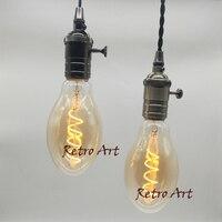 2pcs Lot Dimmable Industrial Soft LED Filament Bulb E27 Retro Antique LED Filament Light 4W Amber