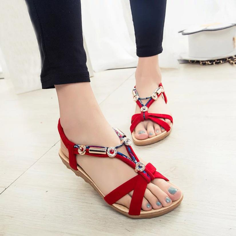 e44419cce4577 SWONCO Women Sandals 2019 Summer Casual Women Shoes Leather Ladies Flat Sandal  Soft Bottom Slip On Sandals Handmade Woman Sandal