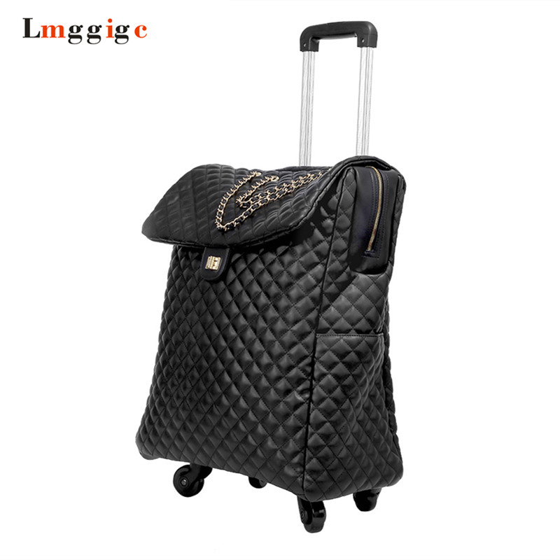 20 inch Travel Luggage bag,Women Portable Suitcase with wheels,Cabin Carry-Ons,PU leather Rolling Trolley case Air box 20 26 dark green vintage suitcase pu leather travel suitcase scratch resistant rolling luggage bags with universal wheels