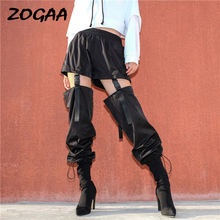 ZOGAA Black High Waist Cargo Pants Women Pockets Patchwork Loose Streetwear Pencil Pants 2019 Fashion Hip Hop Women's Trousers hip hop patchwork chains pants women elastic high waist black track pants capris embroidery letter trousers female streetwear