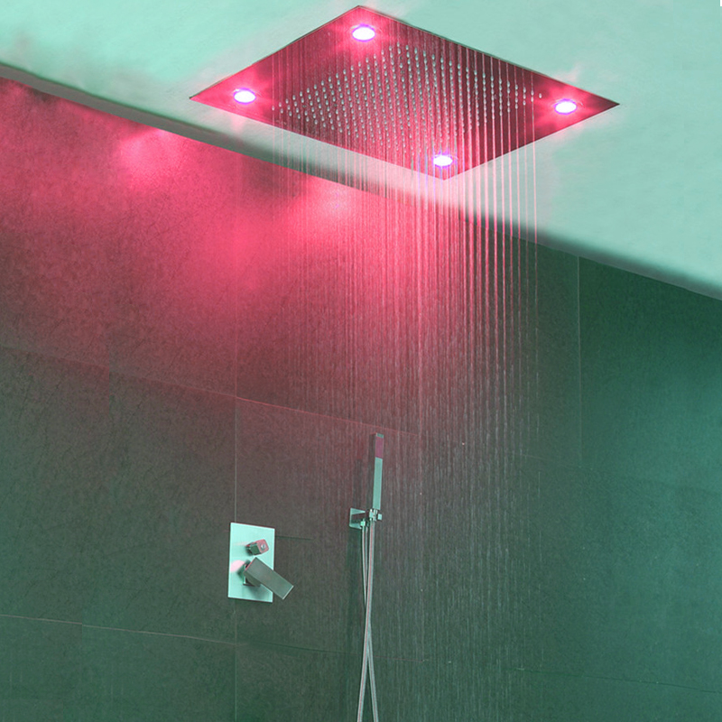 Modern Shower Faucets Set Hot Cold Faucet Tap Large Water Ceiling LED Light Shower Head Concealed Shower Rainfall Showerheads
