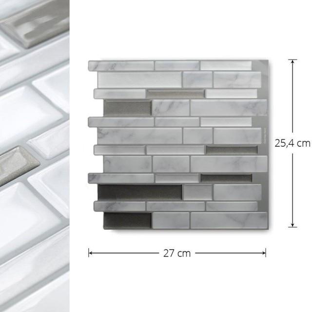 White Grey Marble Mosaic Peel and Stick Wall Tile Self adhesive Backsplash DIY Kitchen Bathroom Home Wall Decal Sticker Vinyl 3D 3