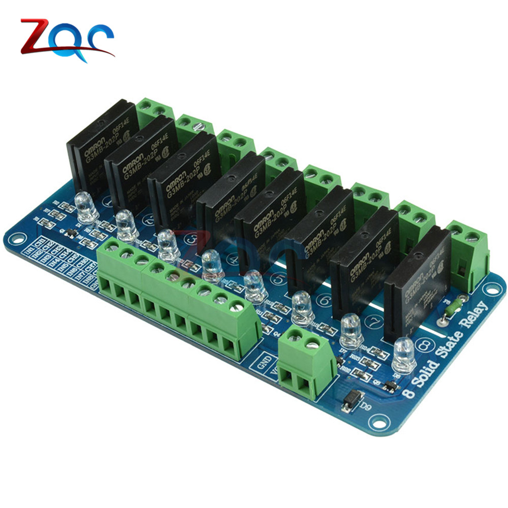 AC 250V 2A 8 Channel For OMRON SSR G3MB-202P Solid State Relay Module For Arduino Low Level Trigger With Fuse LED 5v 2 channel ir relay shield expansion board for arduino