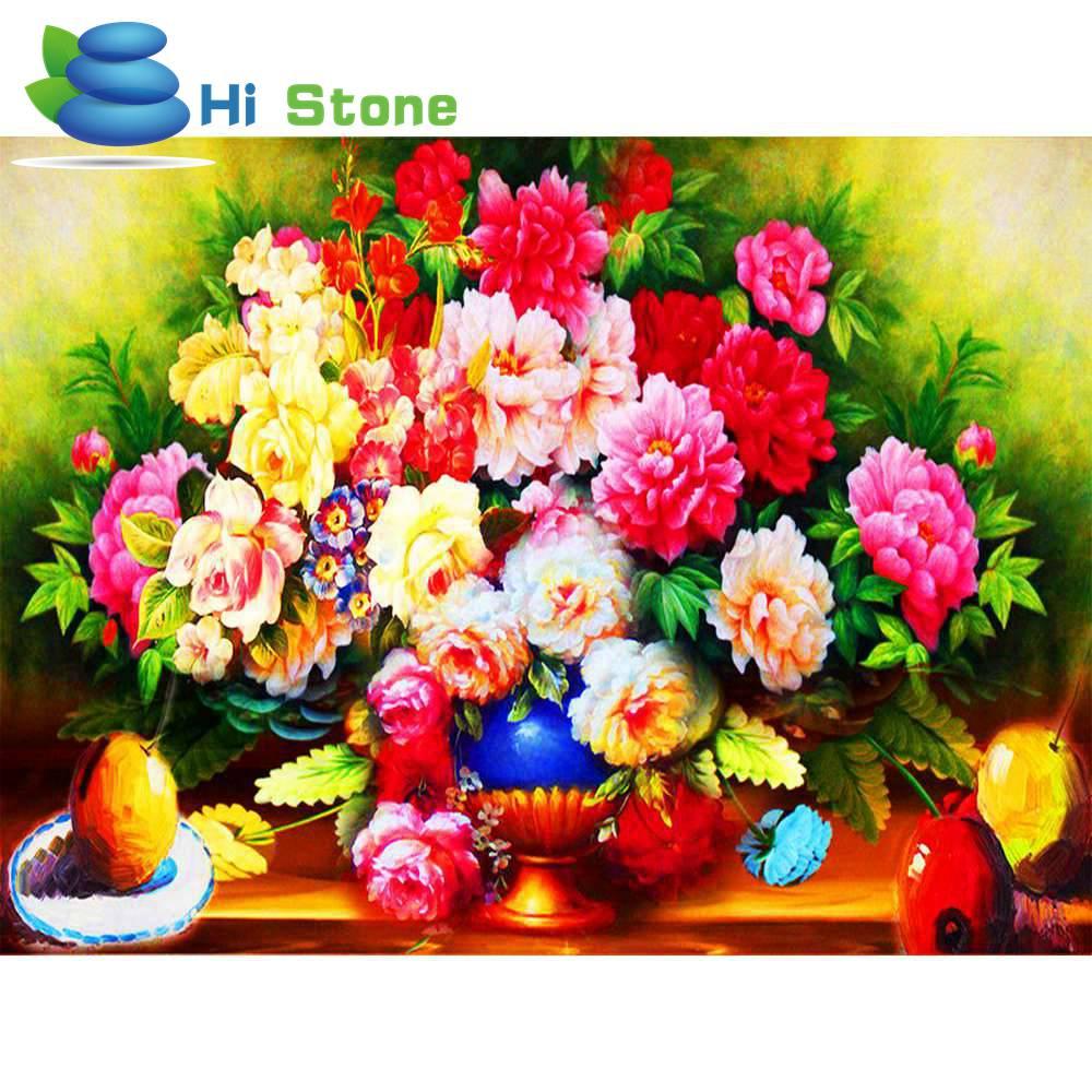 Красные цветы пиона ваза Алмаз DIY Полный 5D алмазов картина вышивки стразами мозаика рукоделие хобби