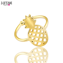ICFTZWE Silver Rose Gold Colour Retro Anillo Boho Toe Ring Gold Pineapple Adjustable Ring Bague Fashion Jewelry BFF