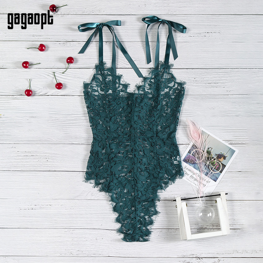 Gagaopt 5 Colors Lace Bodysuit Women Floral Embroidery Elegant Bow Ladies Sexy Bodysuit Jumpsuit Overalls Sleepwear